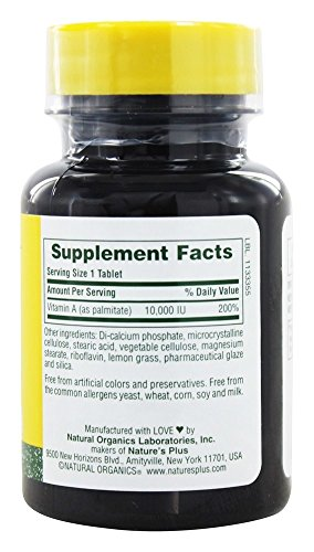 Nature's Plus Vitamin A, 10000 IU, 90 tablets [Health and Beauty]
