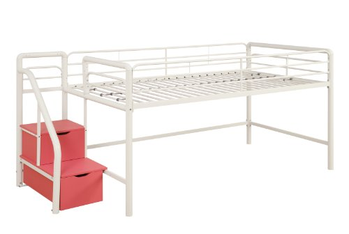 DHP Junior Twin Metal Loft Bed with Storage Steps, Space-Saving Solution, Multifunctional, White with Red Steps - Place Twin Loft Bed
