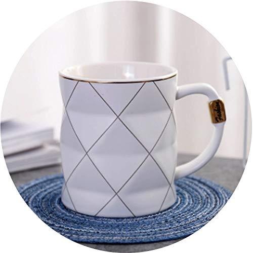 Morden Mug golden line Ceramic Cups Milk 450ml Creative Couples Mug Coffee Water Cup Cute Breakfast Cup Gift,WHITE,450ml