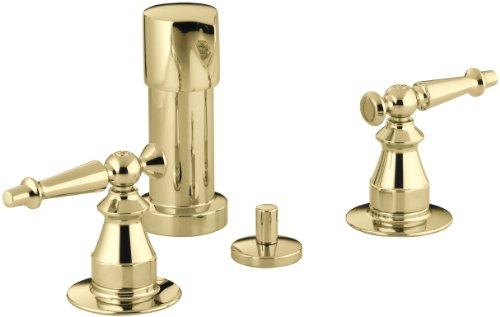 Kohler K-142-4-PB Antique Bidet Faucet with Lever Handles, Vibrant Polished Brass (Antique 4 Bidet Faucet)