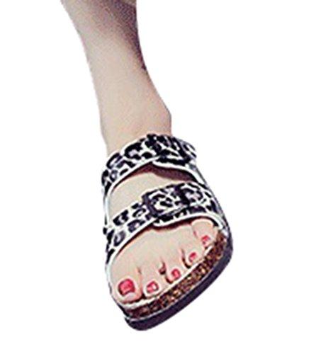 Hebilla de Sandalias ZKOO Zapatillas Verano Impresión Verano Casual Abierta la imagen4 Vendaje Mujeres Playa Multicolor Sandalias Como Dedo de Punta de Zapatillas Tq5rnvd5wZ
