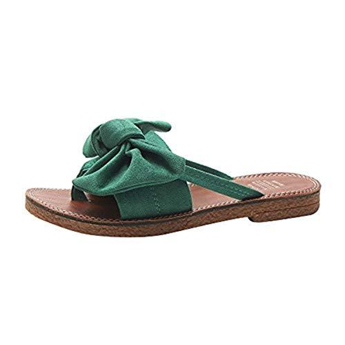Life Is Good Cotton Flip Flops - 〓COOlCCI〓 Womens Summer Bow Tie Flip Flops Flat Sandals Anti-Slip Summer Beach Thong Slipper Open Toe Slip On Shoes Green