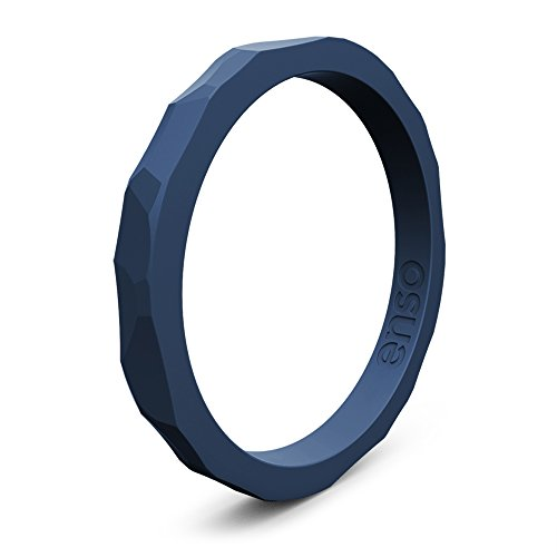 Enso Silicone Ring/Wedding Band. Hammered Design for Men and Women Color: Storm Blue. Size: 10