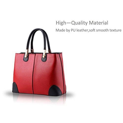 NICOLE&DORIS nuevas mujeres del bolso bolsos de moda mensajero -Schulterbeutel las mujeres del bolso del monedero(Black) Red wine