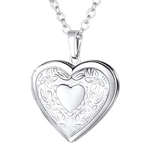 U7 Platinum Plated Charm Necklaces Heart Pendant Photo Locket Necklace for Women Girls (Necklace Pendant Locket)
