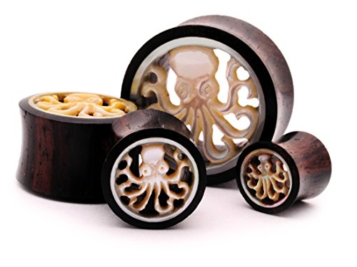 Mystic Metals Body Jewelry Pair of 00g (10mm) Sono Wood Tunnels with Mother of Pearl Octopus Inlay