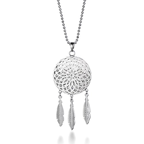 BIRSTONE Double Hollow Dream Catcher Feather Pendant Necklace, Silver ()