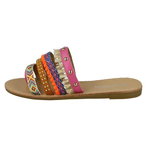 Savannah Ladies Flat Strappy Toe Loop Sandals Pink Multi (Pink) cnGNw