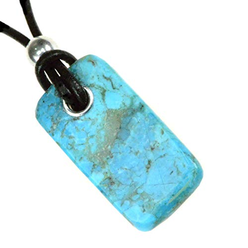 Kingman Turquoise - Turquoise Pendant Necklace from mine in Kingman AZ includes 2mm leather cord A012-16