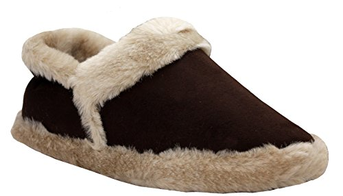 Womens Ladies Coolers Slip On Warm Cosy Fur Lined Christmas Winter Slippers Sizes UK 3-8 Brown 6CiPBkiISD