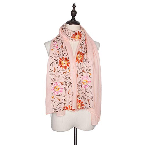 - Women's 100% Cotton linen Long Scarf For Gift Ladies Shawls Embroidered Flower Scarves