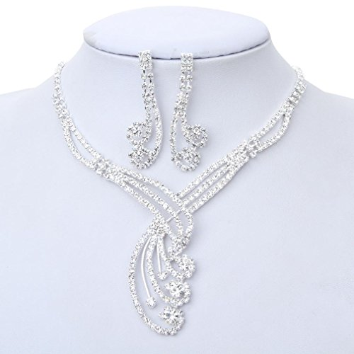 YAZILIND Jewelry Unique Design Elegant Charm Silver Rhinestone Necklace and Earrings Set for Wedding