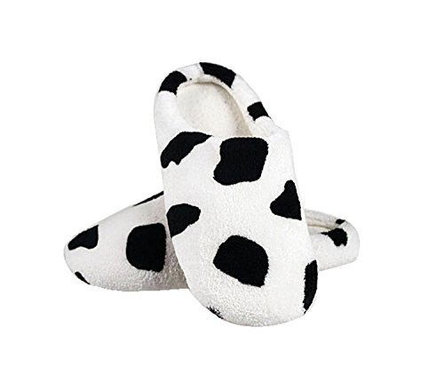 Maybest Lovely Warm Coral Velvet House Slippers Closed Toe Floor Slippers ( Cow 5 B (M) US (Cow Print Clogs)