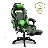 Merax Racing Gaming Chair with Footrest | Ergonomic Office Reclining Chair Computer Gamers PC Racer, High Back Large Home Desk Chairs Executive Adjustable Armrests and Comfortable Seat (Lime Green)