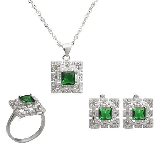 Aooaz Silver Plated Jewelry Set for Women Green Square CZ Micro Pave CZ Wedding Band Earrings Necklace by Aooaz