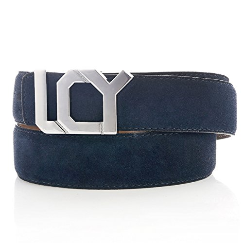 Classic Business Belt for Men with Elegant Plate Buckle 40 Blue