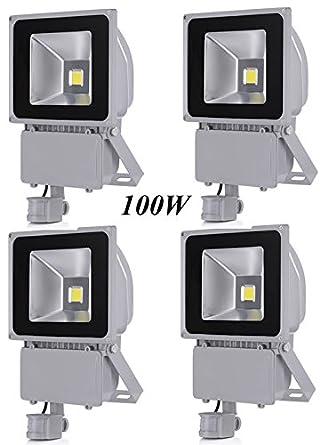 Leetop 4X 100W Blanco Frío LED Foco Proyector Luz, Foco Proyector con Iluminación LED y