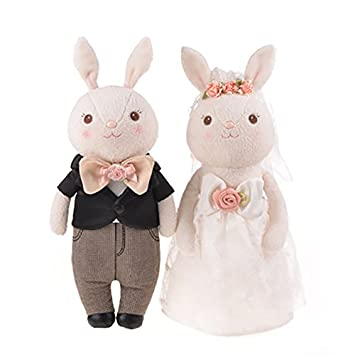 Amazon me too tiramitu stuffed wedding bunny dolls lovers me too tiramitu stuffed wedding bunny dolls lovers couples rabbit plush toys easter gifts 15 inches negle Images