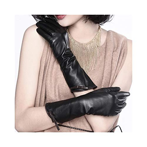(Women's Leather Gloves Touch Screen Long Bow and Velvet Thin Leather Gloves (Color : Black, Size : L))