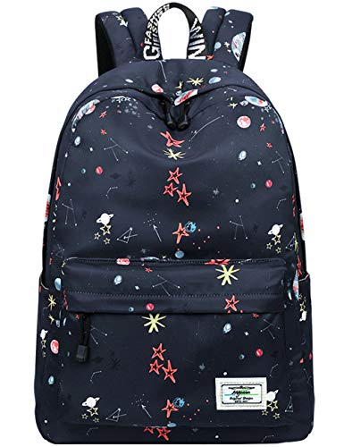Schulrucksack für Mädchen leichte Schulter Schultaschen Universal Stars und Planet Gemustert (schwarz)
