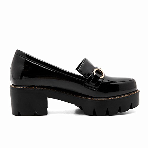 Women's Slip Black On Heel Shoes Court Mee Platform Mid Shoes England Block IXxxBq5P