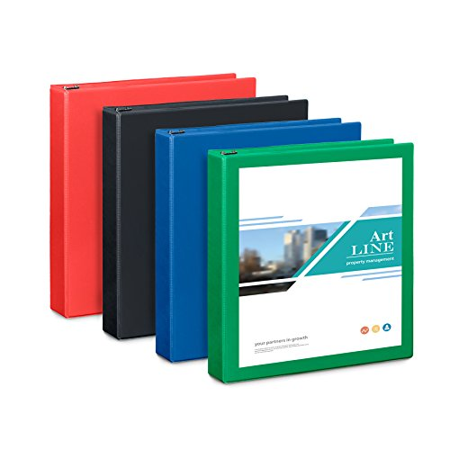 1.5'' 3 Ring Binder, 4 Pack (Assorted Bold) by Blue Summit Supplies