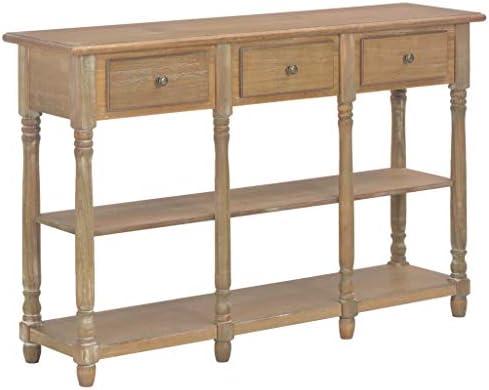 Kopen Tidyard consoletafel met 2 planken 3 laden console bijzettafel sideboard klaptafel gangtafel telefoontafel wit 120x30x76cm MDF houten poten van massief grenenhout BqdmFaF