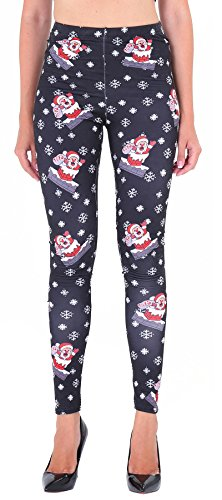 Cute Father Christmas Printed Leggings for Women Ankle Length Xmas Costume M