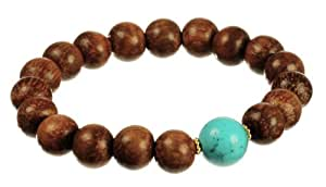 """Vermeil Wood Beads and Turquoise Accent Rondell Stretch Bracelet, 7.5"""""""