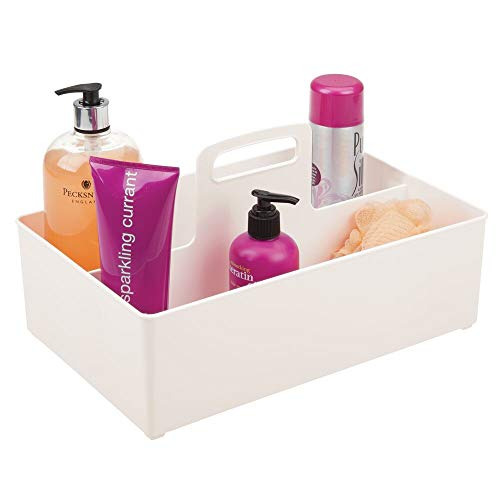 mDesign Plastic Storage Organizer Container Tote Bin with Handle - for Bathroom, Shower; Holds Shampoo, Conditioner, Body Wash, Lotions- Divided, 2 Sections - Cream (Cream Ladder Shelf)