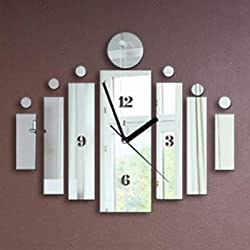 Alrens_DIY(TM)Silver New Arrival Fshion Wall Clock Modern Design Art Luxury Acryic Non-ticking Quiet Quartz Clock Watch DIY Removable 3D Crystal Mirror Wall Clock Wall Sticker Home Decor Art Living Room Bedroom Office Decoration