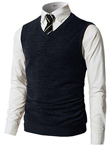 (H2H Mens Slim Fit Casual V-Neck Knit Vest Navy US S/Asia M (CMOV042))