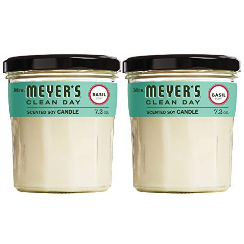 Mrs. Meyer's Clean Day Scented Soy Candle, Large Glass, Basil, 7.2 oz, (Pack of 2) (Candle Soy Lavender Mrs Meyers)