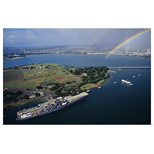 GREATBIGCANVAS Poster Print Entitled Hawaii, Oahu, Aerial of USS Missouri Docked at Pearl Harbour with USS Arizona Memorial by Tomas Del Amo 18