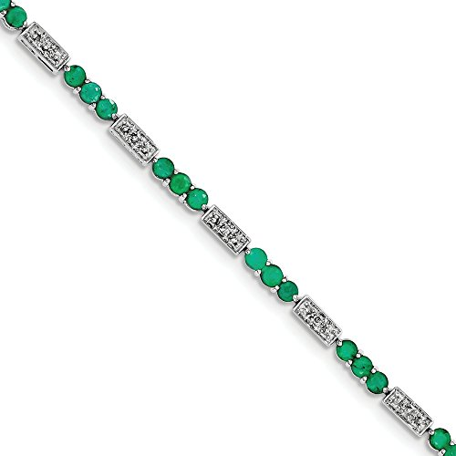 Sterling Silver Emerald and Diamond Bracelet by CoutureJewelers