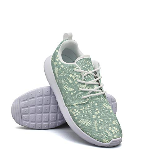 CHALi99 Comfort Female Youth Lightweight Mesh Shoes Eucalyptus Palm Fern Leaves Sneakers Athletic Shock Absorbing (Earrings Anderson Set)