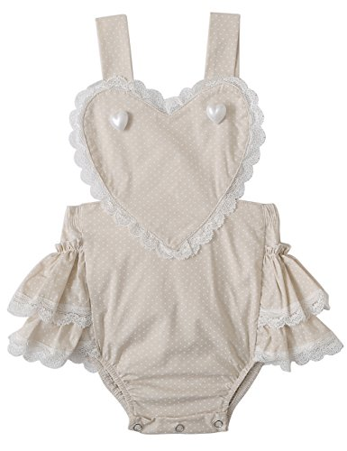 Baby Girl Romper Baby Bodysuit Lace Baby Romper Baby Outfit Cake Smash Outfit Beige 2-3 Years ()