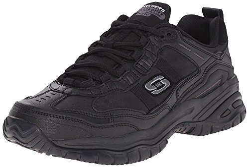 Sneakers Suede Sporty - Skechers Men's Work Relaxed Fit Soft Stride Mavin,Black,US 15 M