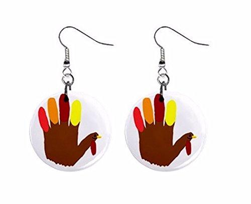 (Hand Print Turkey Thanksgiving Dangle Button Earrings Jewelry)