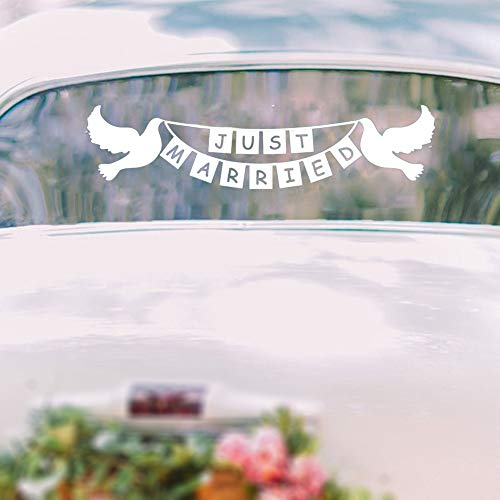 (Fuirs Quotes Art Decals Vinyl Removable Wall Stickers Just Married Doves Bunting Banner Wedding Car Window Wedding Decoration Wedding Gift)