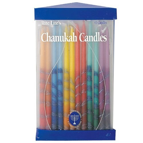 Rite Lite Club Pack of 45 Festive Hand Dipped Multi-Colored Chanukah Menorah Candles 6''