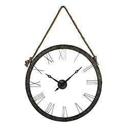 Sterling 26-8643 Metal/Glass Leona Wall Clock, 26-Inch, Rustic Iron/Silver