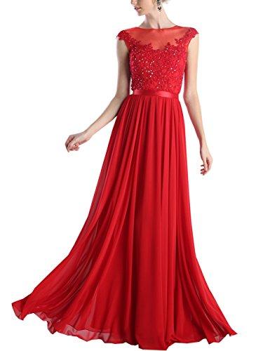 Blume Rüschen Erosebridal Chiffon Rot A Abendkleid Bodenlänge mit nfRXq
