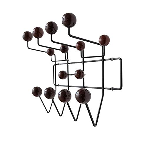 ZH Shower Caddies Iron Wire Coat Rack with Solid Wood Hook, Wall Coat Hooks, Wall Storage Display Decoration Organizer for Entryway Hallway Living Room Bedroom4636cm (Color : A)