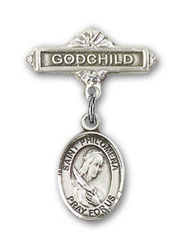 Icecarats Créatrice De Bijoux En Argent Sterling St. Philomena Charme Filleul Broche De Badge 1 X 5/8