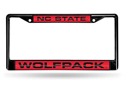 Rico NCAA North Carolina State Wolfpack Laser Cut Inlaid Standard Chrome License Plate Frame, Black