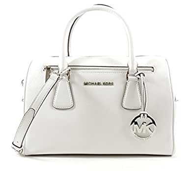 Michael Kors Sophie Optic White Large Top Zip Leather Satchel