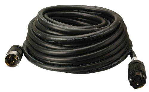 (Southwire 19190008 6/3 & 8/1 SEOW 50 Amp, 125/250-Volt Outdoor Extension Cord CA-Style CS63 Twist-Lock, Custom Blended Jacket, Extra Hard Usage Cord, 100-Feet, 100-Foot, Black)