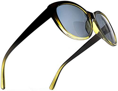 Women's BiFocal SunReaders Fashion Cat Eye Reading Sunglasses Oversized CatEye Glasses Olive Yellow Rx 2.25 (Best Sunglasses For Eye Health)