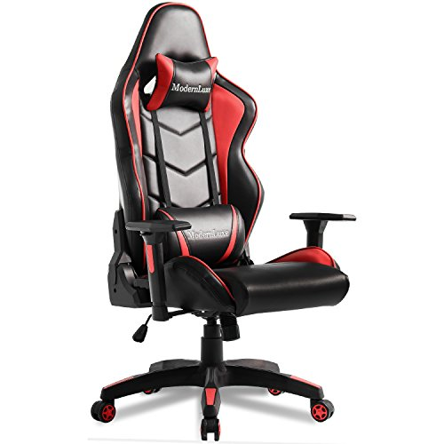 Modern Luxe Video Gaming Chair Executive Swivel Racing High Back Office Chair Lumbar Support Ergonomic with Headrest (red)